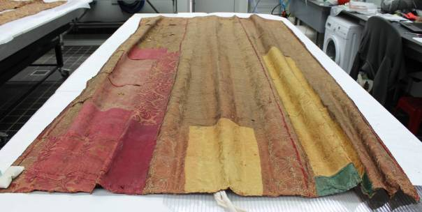 The proper left foot curtain of the spangled bed (inv. no. 129462), shown from the top end. ©National Trust